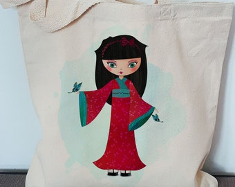 Cotton tote bag with GEISHA, practical and reusable bag, illustration doll, geisha, reusable bag design in cotton, cotton Tote Bag