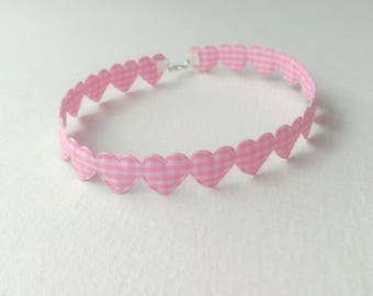 Pink Heart Gingham Choker Day Collar DDLG ABDL Kitten Play