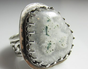 Sun Moss Ring - Sterling Silver and Solar Quartz