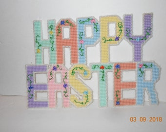 Happy Easter, wall hanging, plastic canvas, Spring