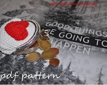 Crochet coin purse with heart - pdf pattern