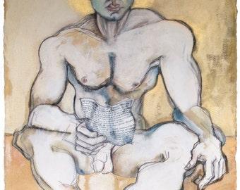 Erotic Art Print, Homoerotic Art, Male Nude, Mature - The Poet