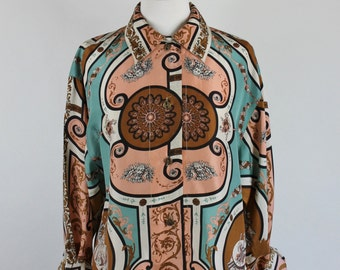 SALE - Vintage 80s Womens Pink Brown Rococo Baroque Print Silk Blouse