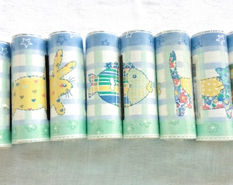 Nursery Wallpaper Border with Green and Blue Calico Animals by Imperial 10 Rolls Unopened