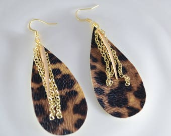 Faux Leather Leopard Print Earrings