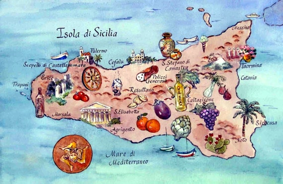 Map of the Island of Sicily Italy Reproduction Art Print of