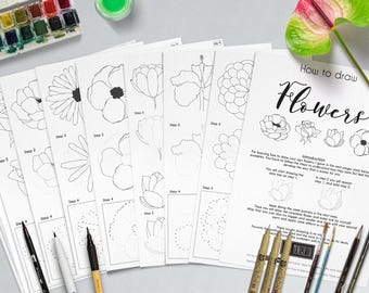 How to Draw Flowers | Lettering Elements | Practice sheets | Bullet jornal | Doodle | Elements | worksheets | Digital file | Printable