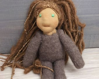 Natural fiber waldorf inspired doll with alpaca yarn hair