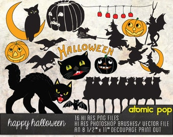 SALE Instant Download // Vintage Halloween Postcard Clipart// Digital Photoshop Brushes // Vector // Orange Black Cats, Witches, Pumpkins