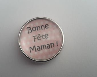 snap closure in white color glass cabochon polka Pink mother's day.