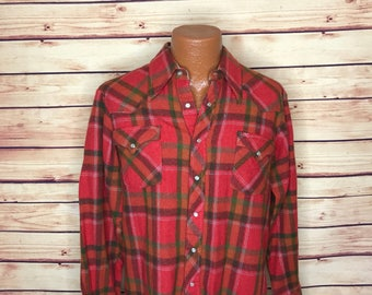 Vintage mens 70's pearl snap red plaid flannel