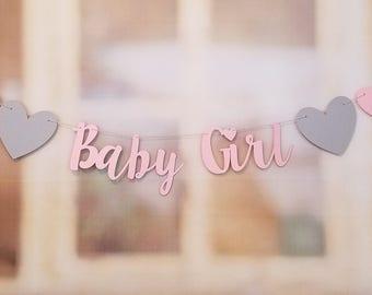 Baby Girl Banner, Heart Baby Shower Decoration, Baby Girl Sign, Letter Banner, It's A Girl Banner, Baby Girl Shower Decoration
