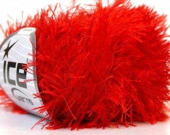 ICE YARNS eyelash bright red 1 skein 50gr bulky polyester chunky craft rug yarn turkish us 10 82 yards 1.76 oz 22761