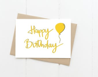 Happy Birthday Greeting Card, Yellow B'day Balloon Blank Card