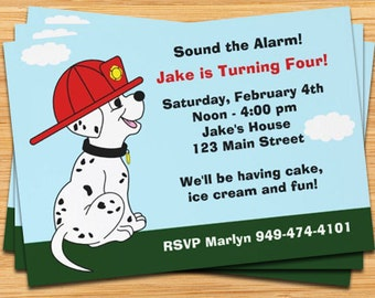Firetruck Dalmation Birthday Party Invitation - Printable