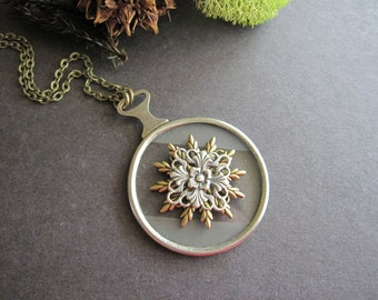 Optical Lens Necklace, Cosplay Jewelry, Filigree, Steampunk Lens, Snowflake, Wildflower, Nature Inspired, Victorian Necklace, Gothic, Goth