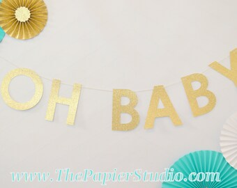 OH BABY Gold Glitter Banner