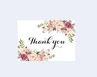 Printable Thank you, Floral Thank you card, Digital card, Blush thank you, Boho Ivory Thank you, Rustic Thank you, Wedding thank you, Ashley