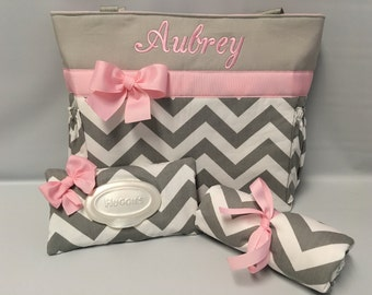 Diaper Bag SET ... CHEVRON  in Gray .. .. PINK Accents  ...   Diaper Bag... Bottle Pockets .. Wipe Cover ... Changing pad