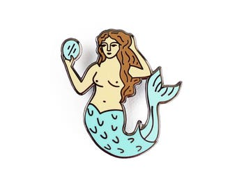 Siren Enamel Pin - Mythology Lapel Pin // Hard Enamel Pin, Cloisonné, Pin Badge