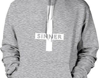 Sinner, Inverted Cross Hooded Sweatshirt, NOFO_01162