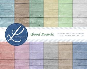 Wood Boards - 12 digital paper patterns - INSTANT DOWNLOAD