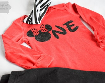 Mickey Mouse Minnie Mouse First Birthday Onesie