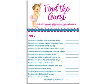 Find The Guest, Baby Shower Game, Baby Girl Shower Game, Vintage Baby With  Pink Diaper, Ice Breaker Shower Game, Instant Download