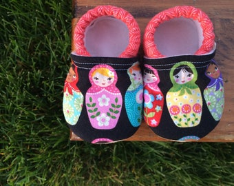 Baby Girl Shoes - Matryoshka Doll Print with Persimmon Herringbone - Custom Sizes 0-24 months 2T-4T