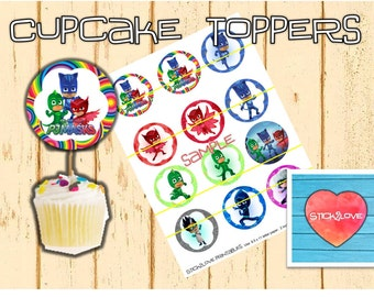 "Pj Masks printables 2 "" circles  cupcake toppers stickers"