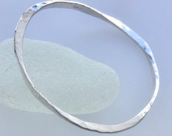 Forged Wave Silver Bangle, sterling silver bangle, handmade, stacking bangle