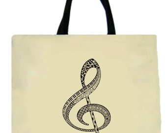 Music Tote Bag, Treble Clef Tote, Doodle Clef Tote, Canvas Tote Bag, Music, Music Teacher Gift, Music Gift