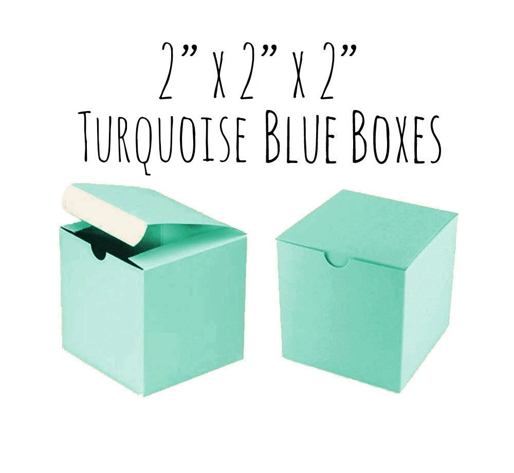 Turquoise Blue 2 x 2 x 2 Square Boxes 100 Pack of