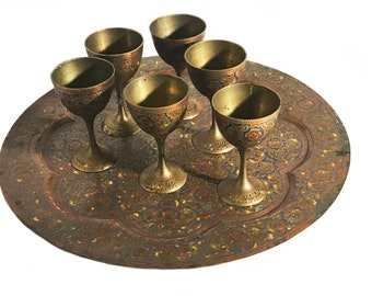 Etched Brass Enameled Cordial Cup Set with Tray
