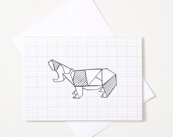 Greeting Card - Origami Animal / Hippo