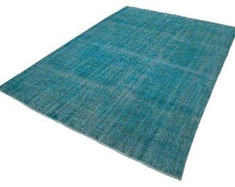 Handmade Modern Turquoise Vintage Area Rug