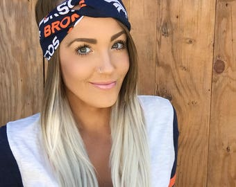 Denver Broncos Vintage Style Turban Headband || Hair Band Accessory Cotton Workout Yoga Fashion Navy Blue Orange White Colorado Head Scarf
