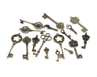 24pcs Mixed Antique Bronze Key Charms Pendants 30 to 70mm