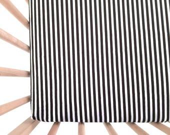 Crib Sheet Black Stripes. Fitted Crib Sheet. Baby Bedding. Crib Bedding. Monochrome Nursery. Crib Sheets. Black and White Crib Sheet.