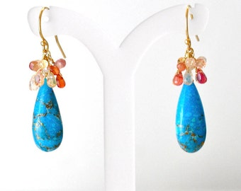 14K Gold. Orange & Yellow Sapphire, Turquoise Earrings, Sapphire Earrings, September Birthstone Earrings, December Birthstone earrings