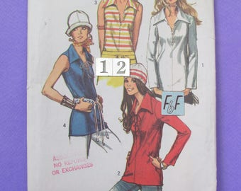 1970's Pointed Wing Collar Top Sewing Pattern/ Simplicity 9460 Mod V neck, Lace up Blouse, Shirt, UnCut/ Size 12 Bust 34