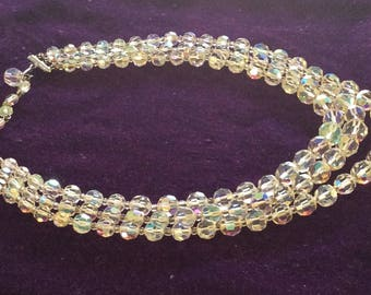 14 to 16 inch Aurora borealis crystal necklace faceted beads, triple strand iridescent rainbow colour # 2000