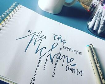 Typography wedding art. Handwritten Art.  Art. Personalized family Art. Marriage art. Family . Unique Gift. Wedding gift. Home.Anchor art.