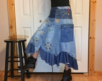 Denim Midi Skirt with Pockets, Blue Jean Skirt, Boho Hippie Gypsy, Upcycled Recycled Repurposed Clothes, Embroidered, Women's Size S-M