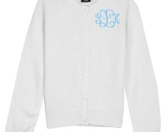 Monogrammed Sweater Kids Child Girls Cardigan Monogram Uniform White Navy Pink Red