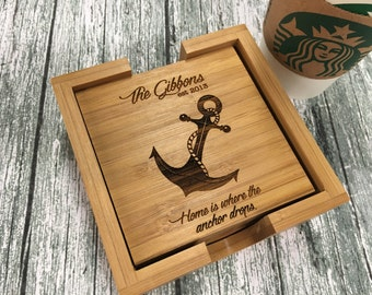 Nautical Coasters, Anchor Coasters, Anchor Decor, Nautical Decor, Navy Wife, Navy Gift, Nautical Wedding, Anchor Wedding - Engraved Set of 4