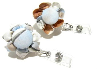 Blue & Brown Retracable Badge Reel, Lanyard, ID Holder, Badge Holder, Fabric Flower, Kanzashi, Student id, Corporate id, Medical id