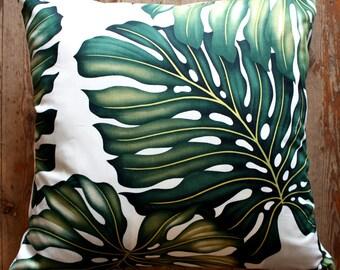tropical monstera palm leaf cushion