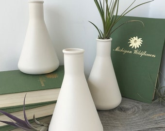 Modern Porcelain Beaker Vase, Science inspired Ceramic Design