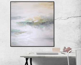 White Painting, Abstract Painting Minimalist Landscape Art Original Painting, Signed Art On Canvas, Gray Wall Art Muted Neutral Art Painting